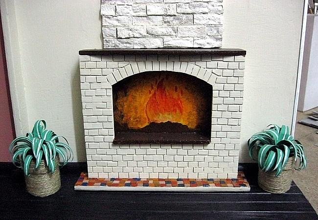 Рисунок огня внутри камина