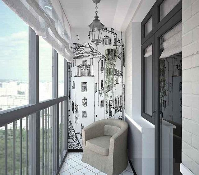 Балкон в сером цвете