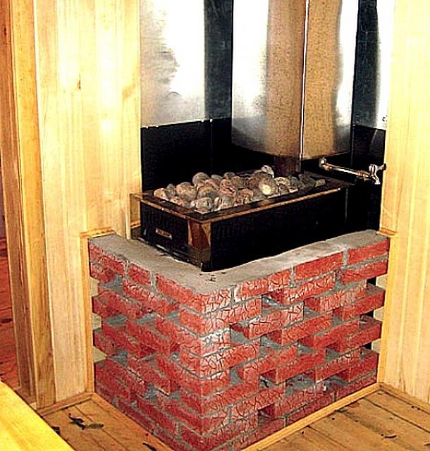 Установка железной печки в бане