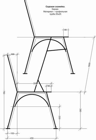 Сделать скамейка из металла своими руками чертежи