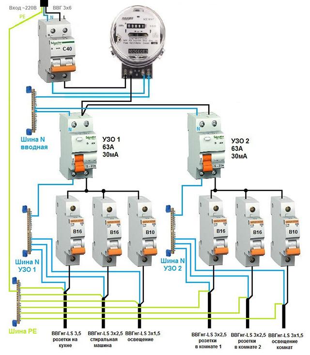 Схема подключения электропроводки в частном доме своими руками 99