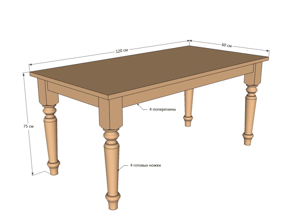 Обеденный стол из дерева своими руками чертеж