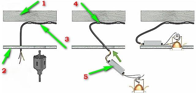 Разводка точечных светильников