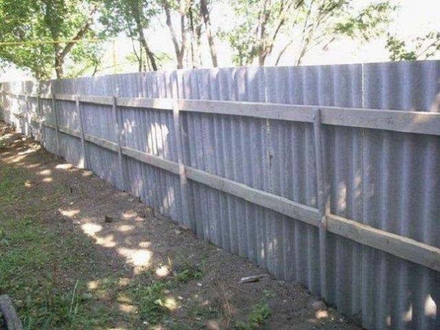 Забор из волнового шифера своими руками видео