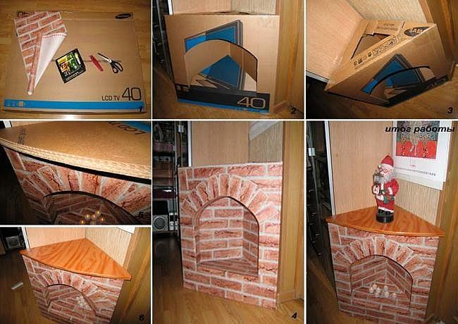 Как сделать из картонных коробок камин своими руками